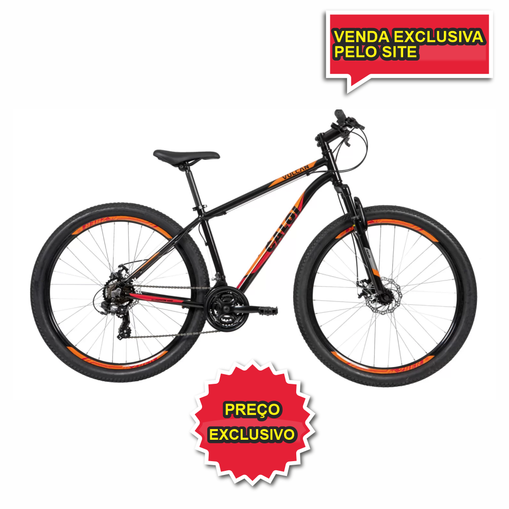 BICICLETA CALOI VULCAN PRETO/ LARANJA ARO 29 - TAM 17 - Cicles Jahn