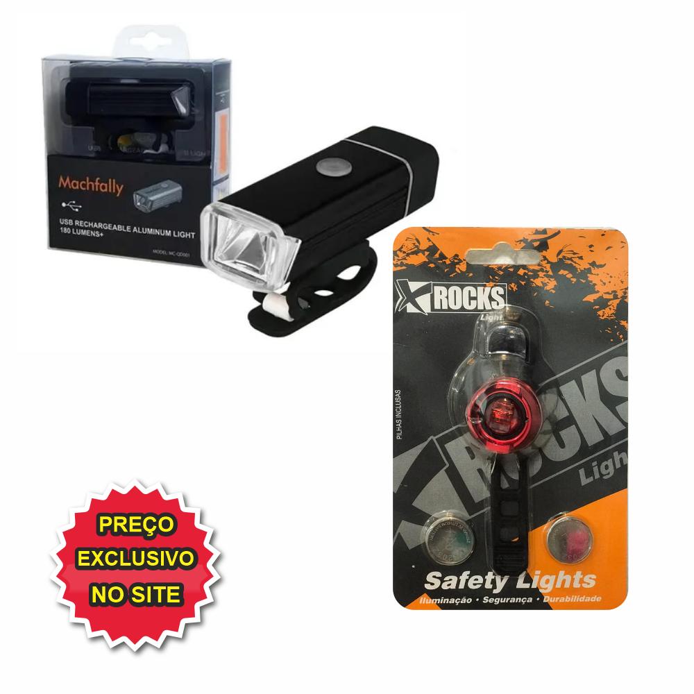 KIT FAROL USB RECARREGAVEL E PISCA XROCKS - Cicles Jahn