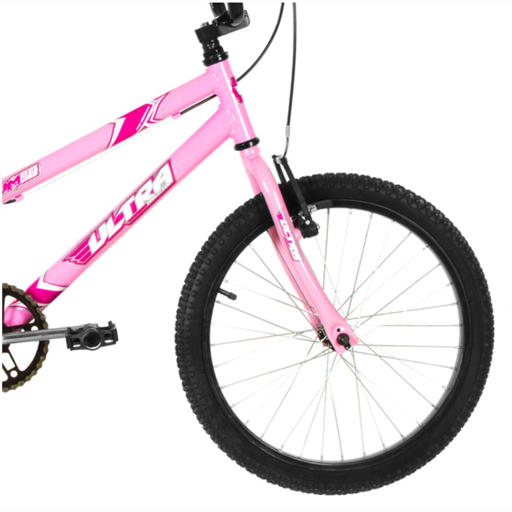 BICICLETA ARO 20 FEMININA ULTRA BIKE ROSA C/ RODINHAS LATERAIS - Cicles Jahn