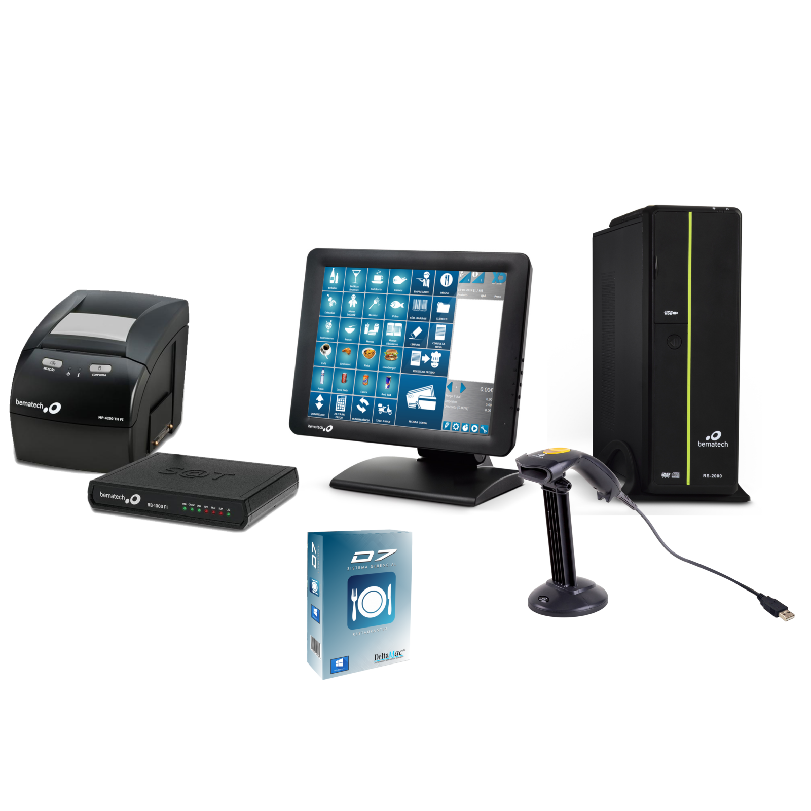 Kit Automação Comercial Tela Touch + Kit Sat + Software D7
