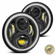 Par Farol Full LED Angel Eyes Segunda Geração Com Suporte Troller e Canceller
