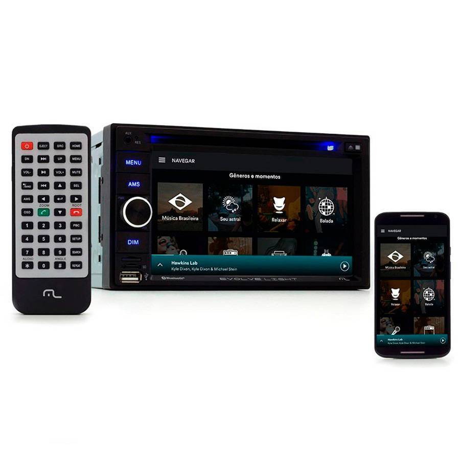 Central Multimídia Multilaser Evolve P3321, Bluetooth, Espel - Complete o Carro