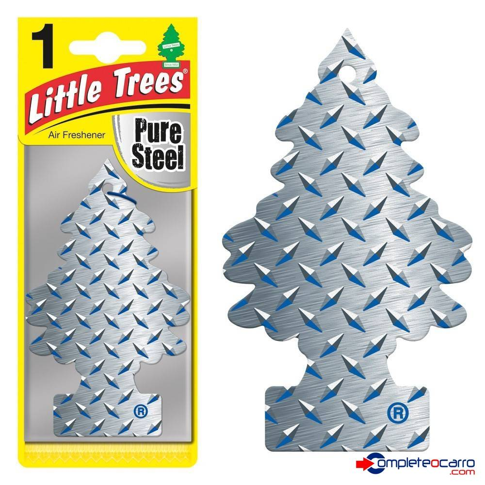 Aromatizante Little Trees - Pure Steel - Car Freshner - Complete o Carro
