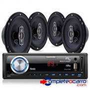Kit Som Automotivo Multilaser Mp3 + 4 Alto Falantes 6