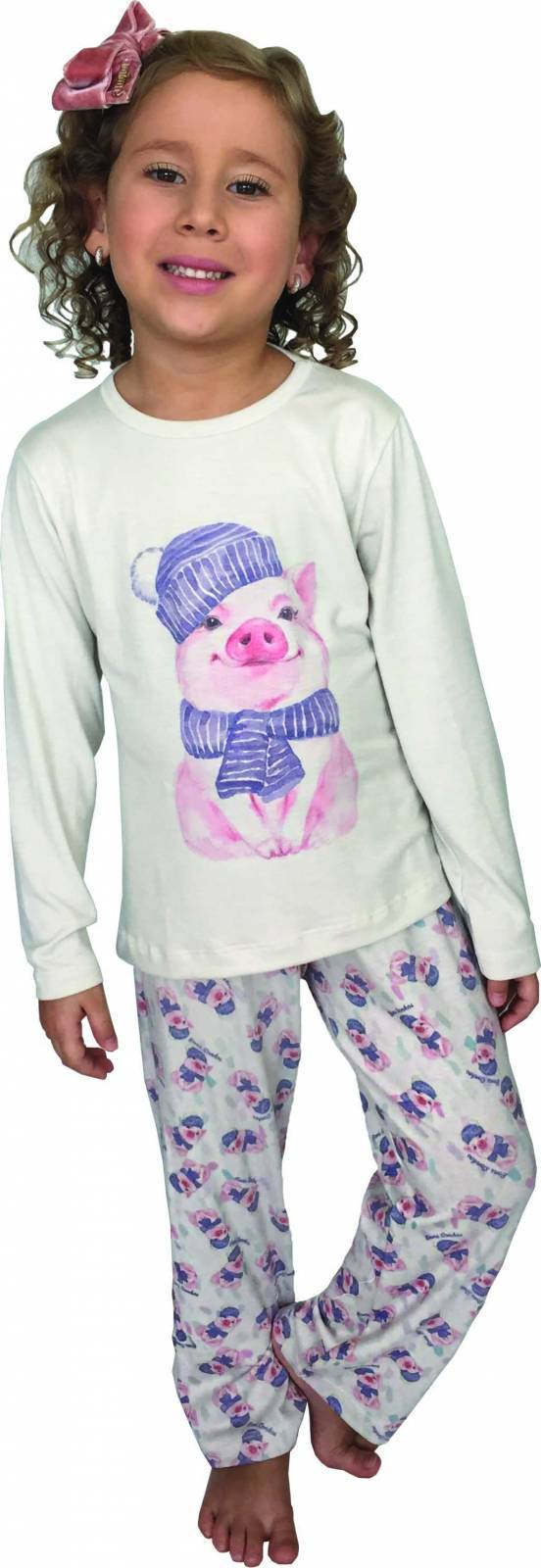 PIJAMA MENINA MANGA LONGA FINO - PORQUINHO - Bons Sonhos Pijamas