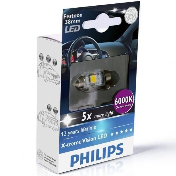 LED AUTOMOTIVO PHILIPS FESTOON 38MM 6000K - TORPEDINHO - Loja FullPower
