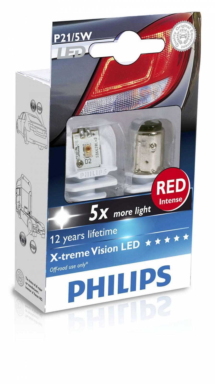 Lâmpada P21/5W LED PHILIPS Par 2 Polos Vermelha Freio - XTreme Vision - Loja FullPower