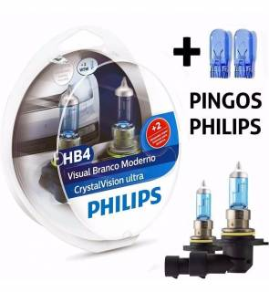 Kit Par Lâmpada Super Branca Philips Crystal Vision Ultra HB4