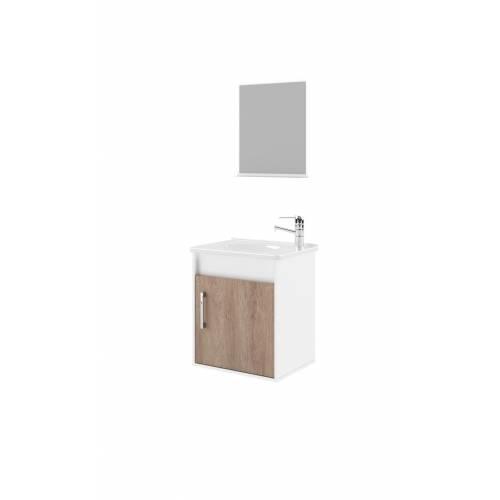 Conjunto Gabinete com Espelheira Bertazoli Luca 45 Branco/Mel - Bavcom Tijolão Materiais de construção