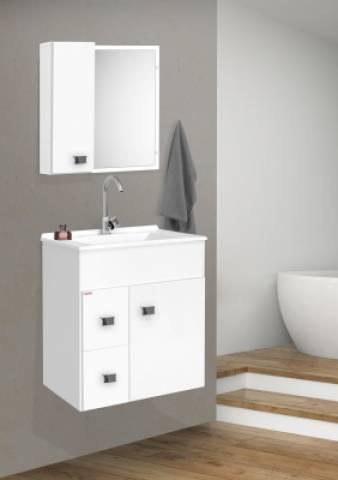 Conjunto Gabinete com Espelheira Fabribam Ecco 60 Suspenso Branco - Bavcom Tijolão Materiais de construção