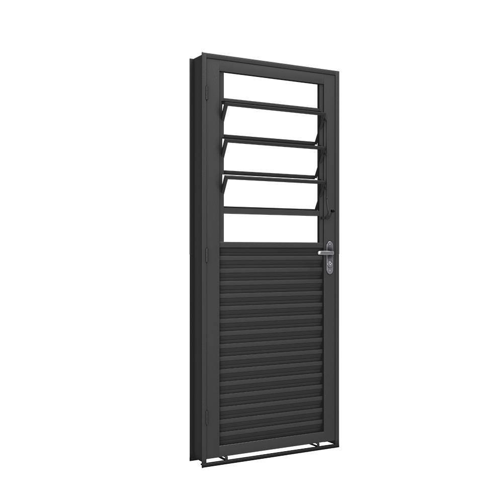 Porta Ferro Machado Mista Basculante 2,15x0,85 Abertura Direita - Bavcom Tijolão Materiais de construção