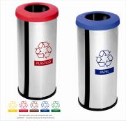 Lixeira Seletiva Inox 14 Litros c/ Aro Plástico Decorline (Unidade) | Purimax