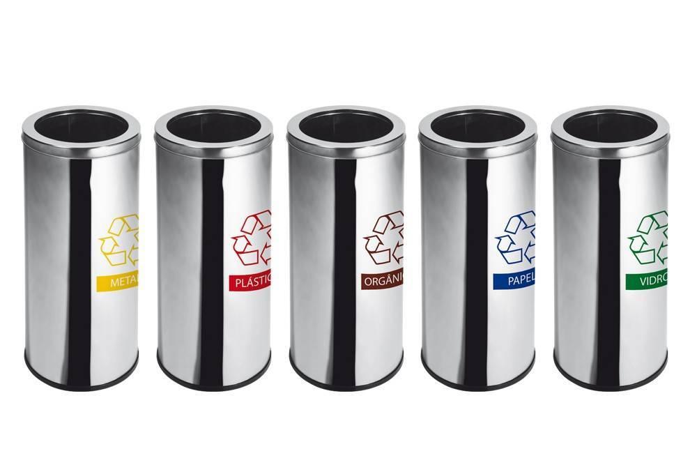 Lixeira Seletiva Inox c/ Aro 30 litros (Unidade)