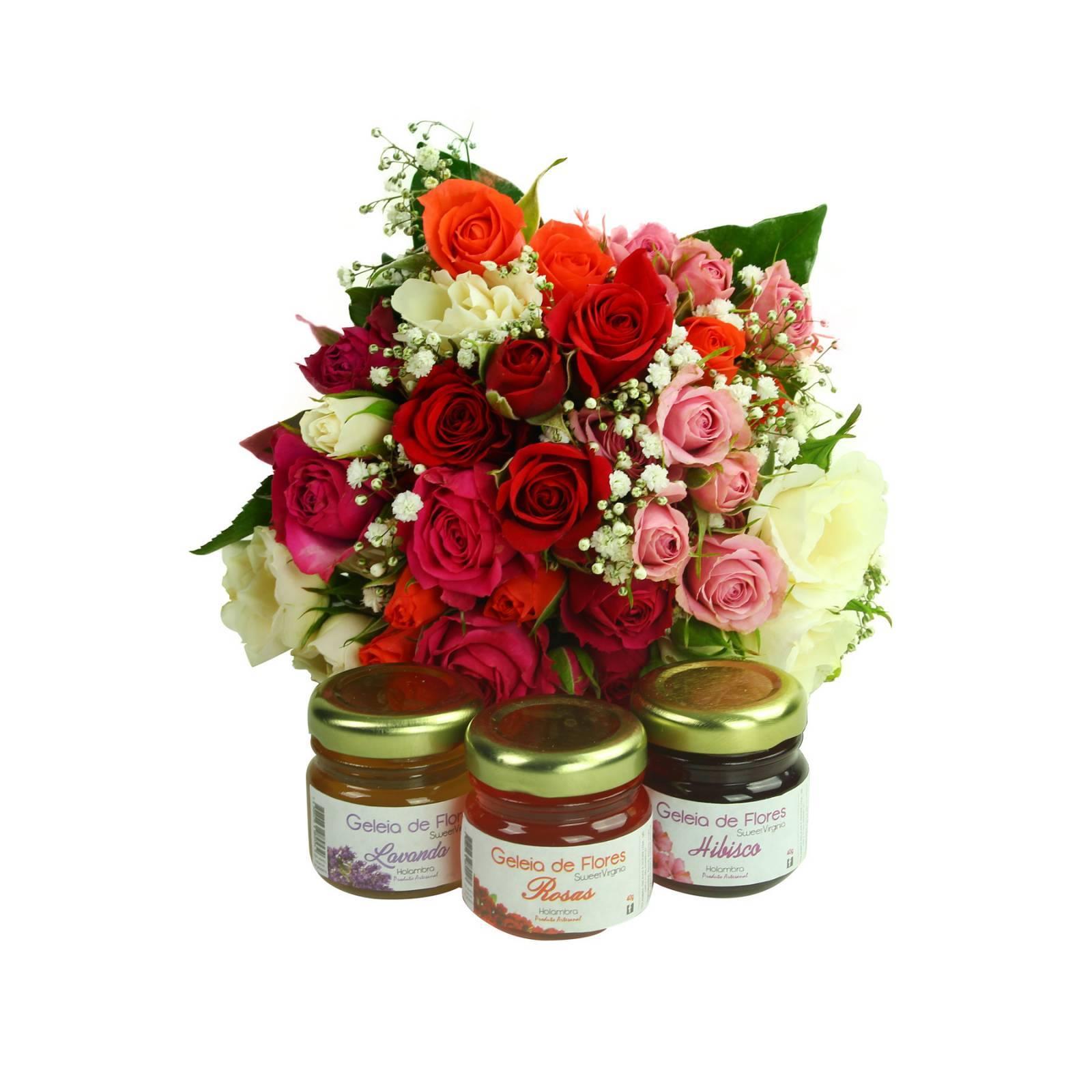 Colorido Mini Rosa e Geléia de Flores