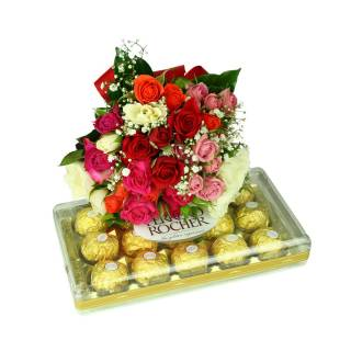 Colorido Mini Rosa e Ferrero | Florisbella Floricultura