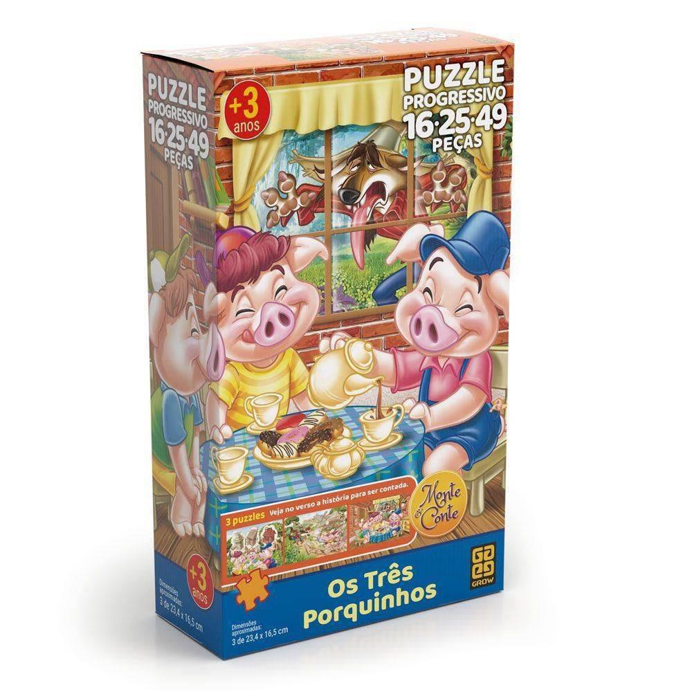 Quebra Cabeça Progressivo Os Três Porquinhos - Grow 03561 - Noy Brinquedos