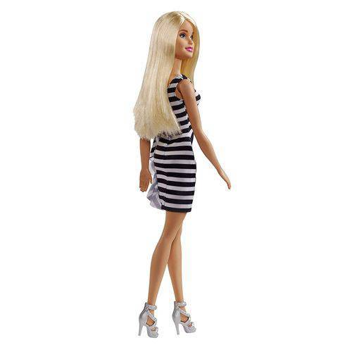 Boneca Barbie Vestido Listrado - Mattel FXL68 - Noy Brinquedos