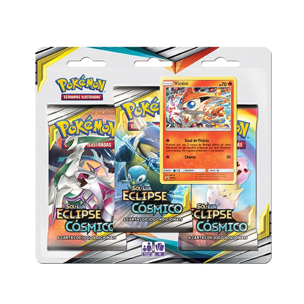 Victini Blister Triplo Pokémon Eclipse Cósmico - Copag 99579 - Noy Brinquedos