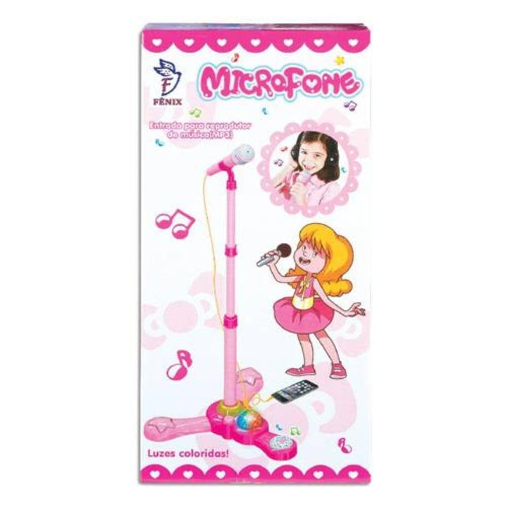 Microfone Infantil Rosa com Pedestal - Fênix MCG-235 - Noy Brinquedos