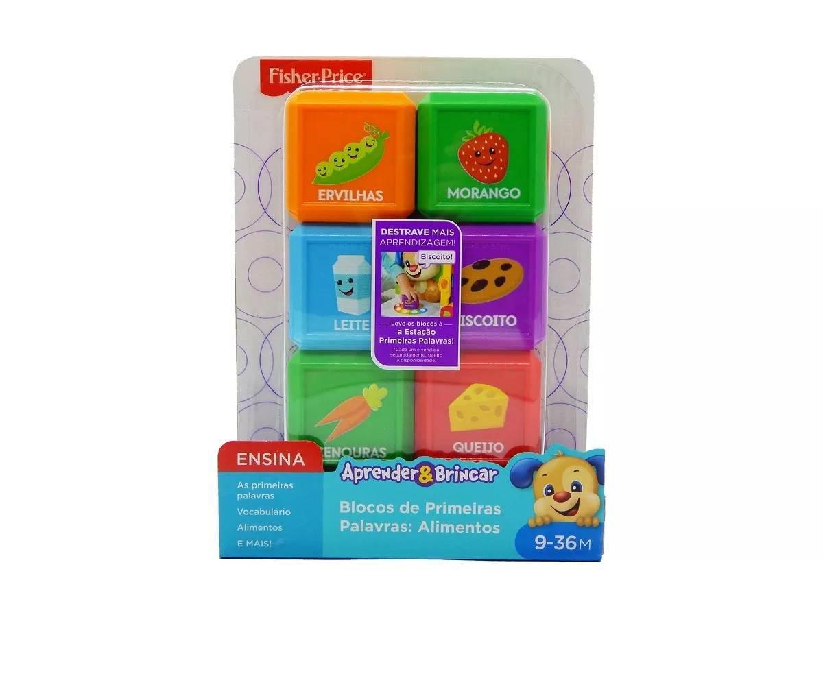 Alimentos Conjunto 6 Blocos Primeiras Palavras Fisher-Price - Mattel FJC47 - Noy Brinquedos