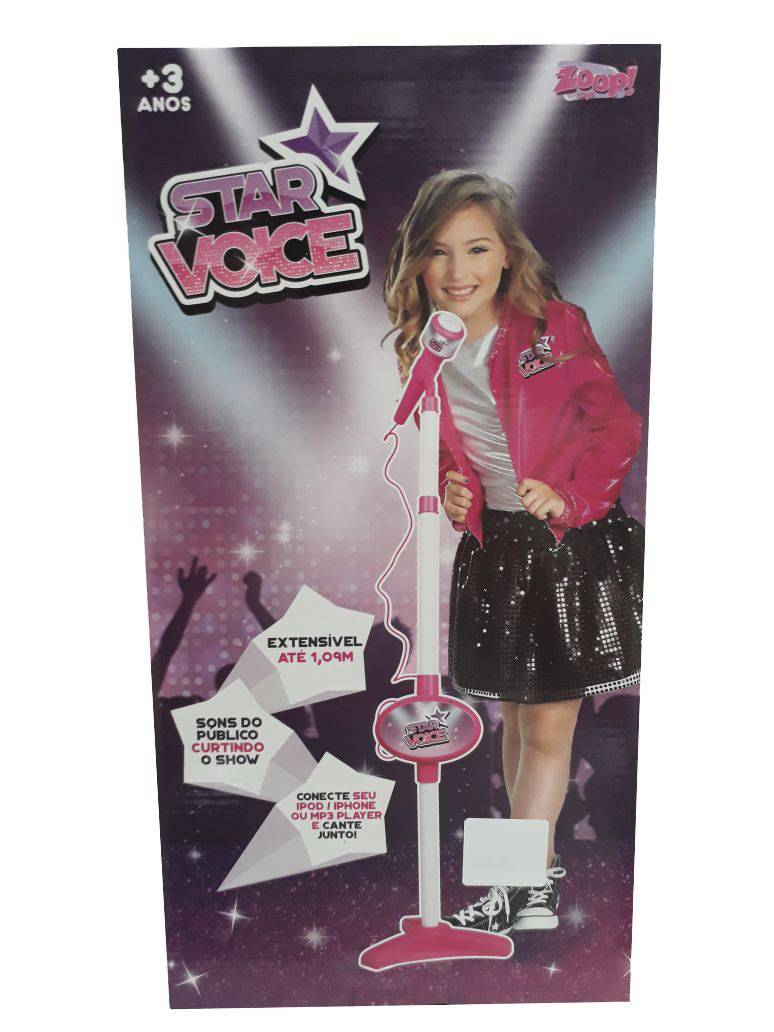 Rosa Rock Star Microfone Infantil - Zoop Toys ZP00220 - Noy Brinquedos