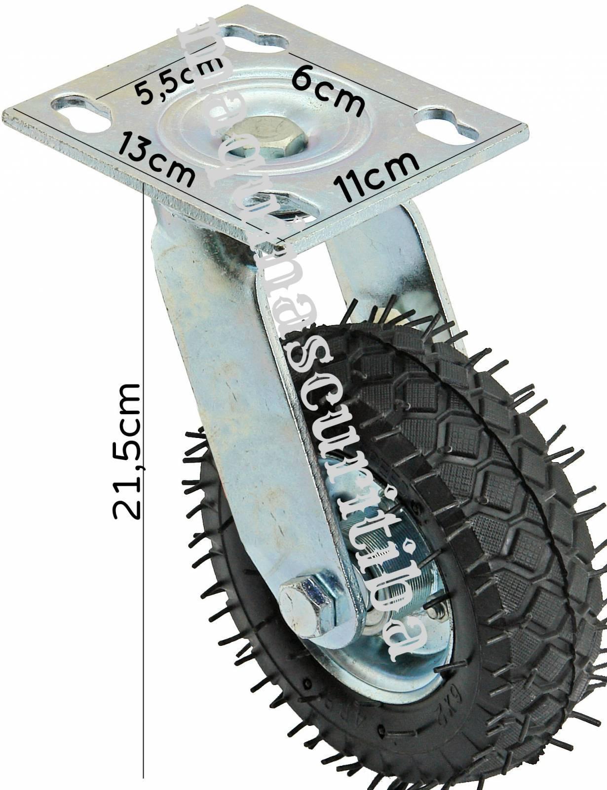 Rodízio Pneumático Giratório com pneu 6x2