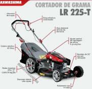 Máquina de cortar grama kawashima LR225-T a gasolina 4 tempos 6,5HP com tração e recolhedor