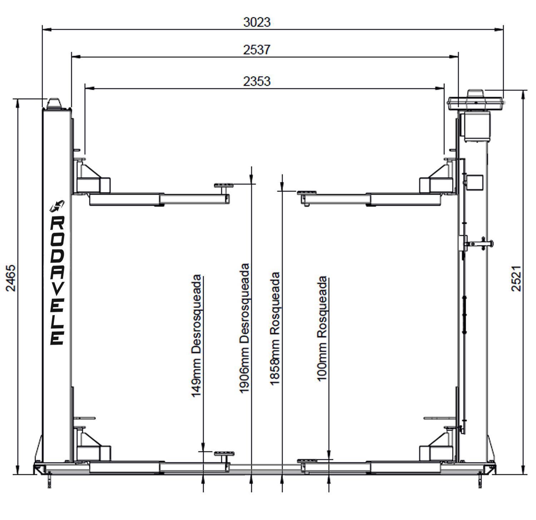 Elevador Automotivo ROD 2.5 Trifásico 220V Vermelho Lub.Manu - RODAVELE