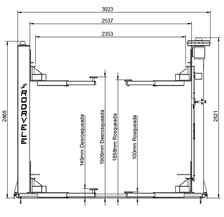 Elevador ROD 2.6 Trifásico 220V Azul Lub. Automática a Óleo  - RODAVELE