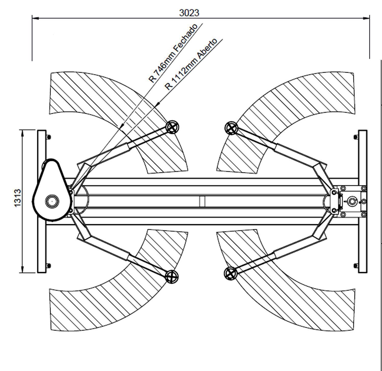 Elevador Automotivo ROD 2.5 Trifásico 220V AZUL Lub.Manual a - RODAVELE