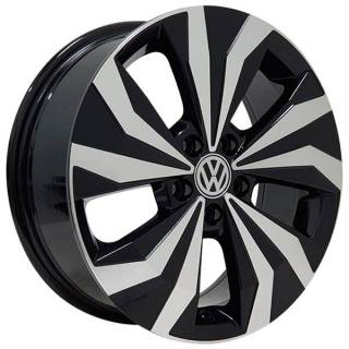 Jogo Rodas Monacco Lanzonne VW T-Cross Aro 16 5x100 Preto Diam. Brilhante