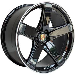 Jogo de Rodas Zeus Porsche 5513 Aro 21 (Duas Talas) 5x112 Black Machined Lip