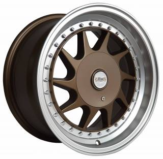 Jogo Rodas HM10 15X75 4X100/113 ET:25 CB:73,1 BRONZE /POLISHED LIP /BLACK RIVET