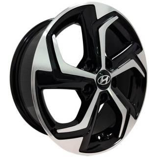 Jogo Rodas Hyundai Creta Monacco MW090 Aro 16 5x114 Preto Brilhante Diamantado