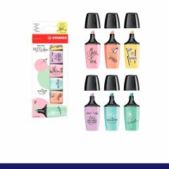 Kit Mini Marca Texto Stabilo Boss Pastéis Love c/ 6 Cores