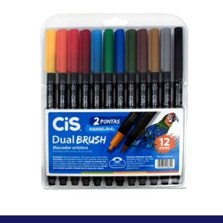 Kit Caneta CiS Dual Brush c/ 12 Cores Aquarelável