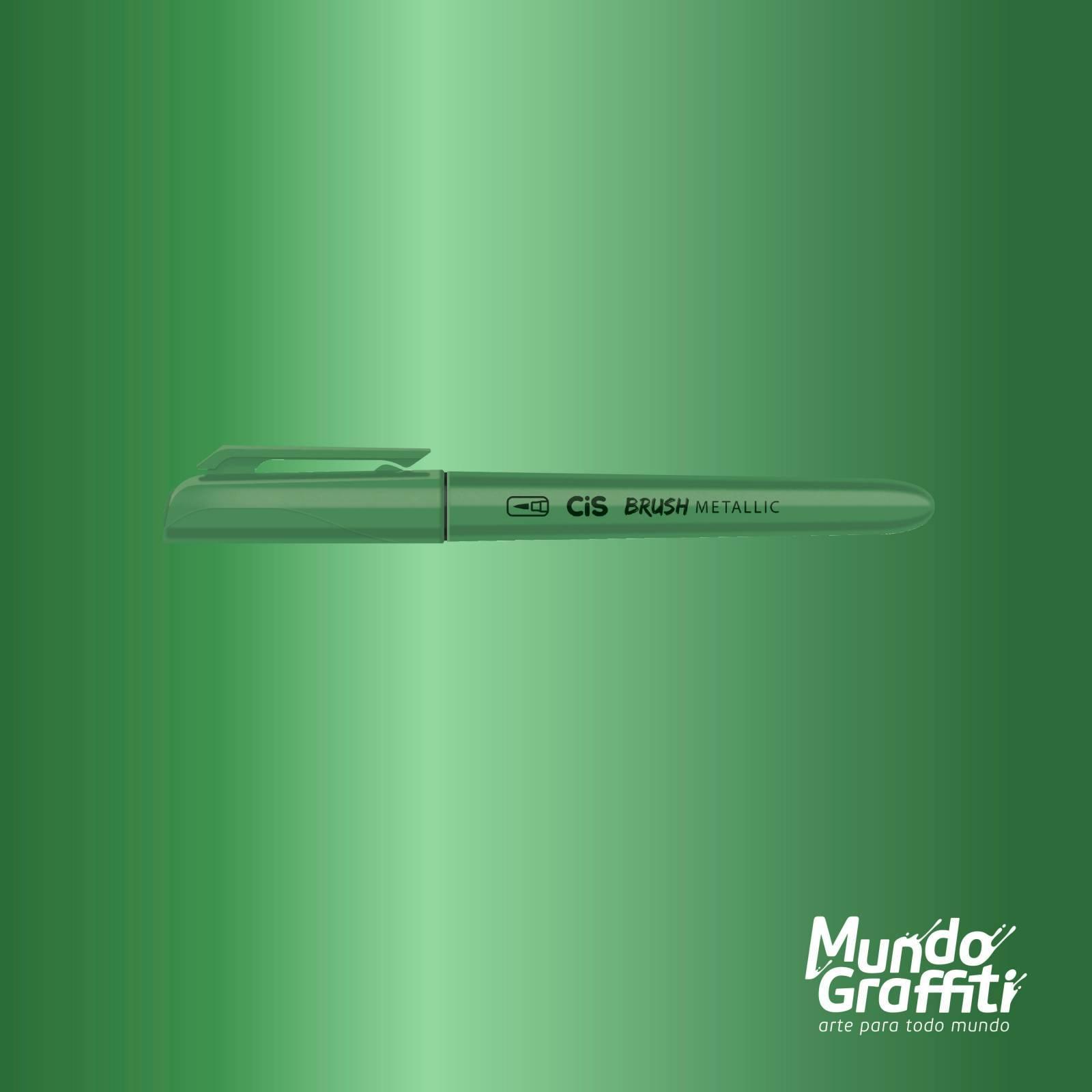 Caneta CiS Brush Metálica Verde - Mundo Graffiti
