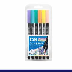 Kit Caneta CiS Dual Brush Pastel c/ 6 Cor Aquarelável