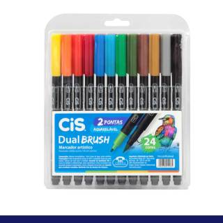 Kit Caneta CiS Dual Brush c/ 24 Cores Aquarelável