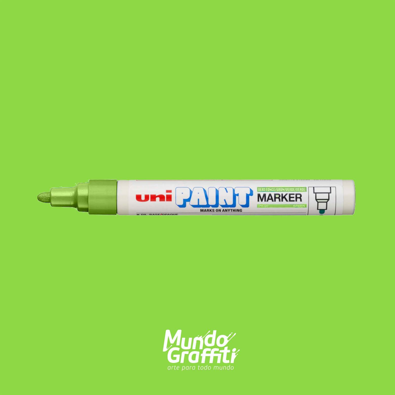 Marcador Permanente Uni Paint Marker PX20 Verde Claro - Mundo Graffiti