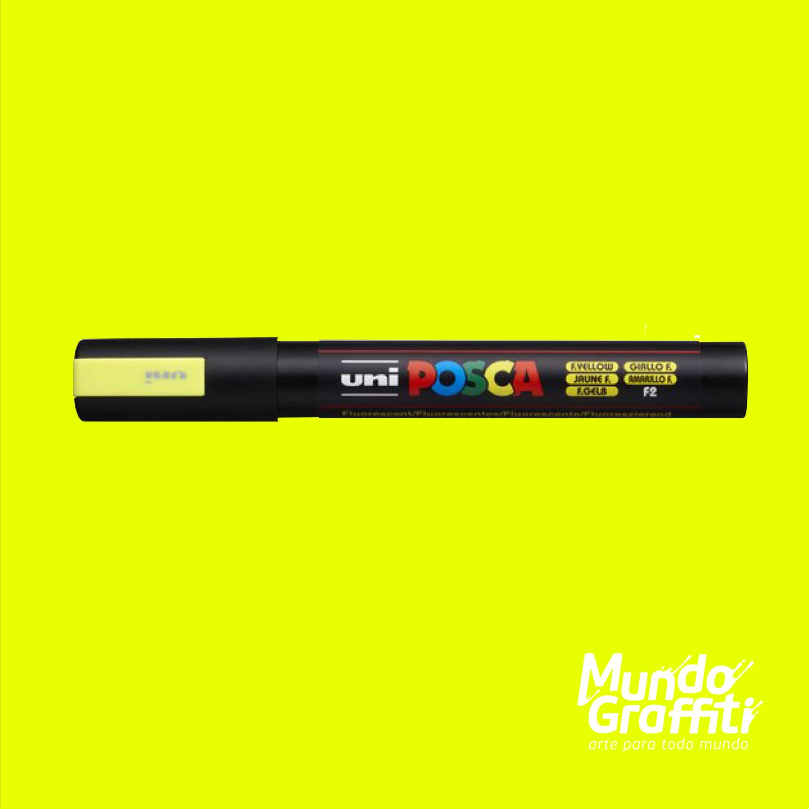 Caneta Posca 5M Fluor Amarelo - Mundo Graffiti