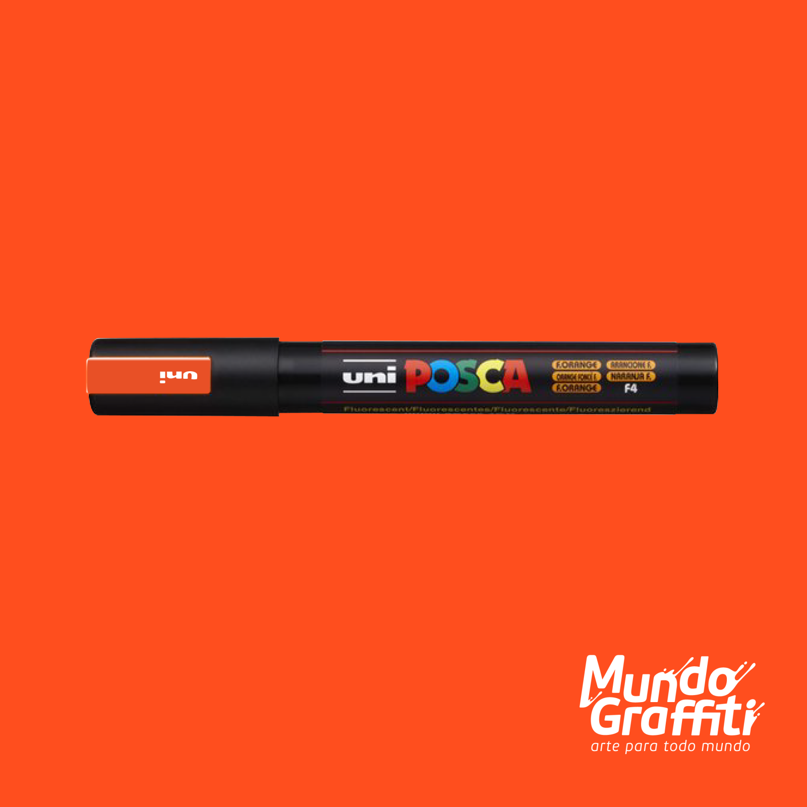 Caneta Posca 5M Fluor Laranja - Mundo Graffiti