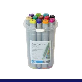 Estojo Cis Graf Duo Brush C/ 12 Cores