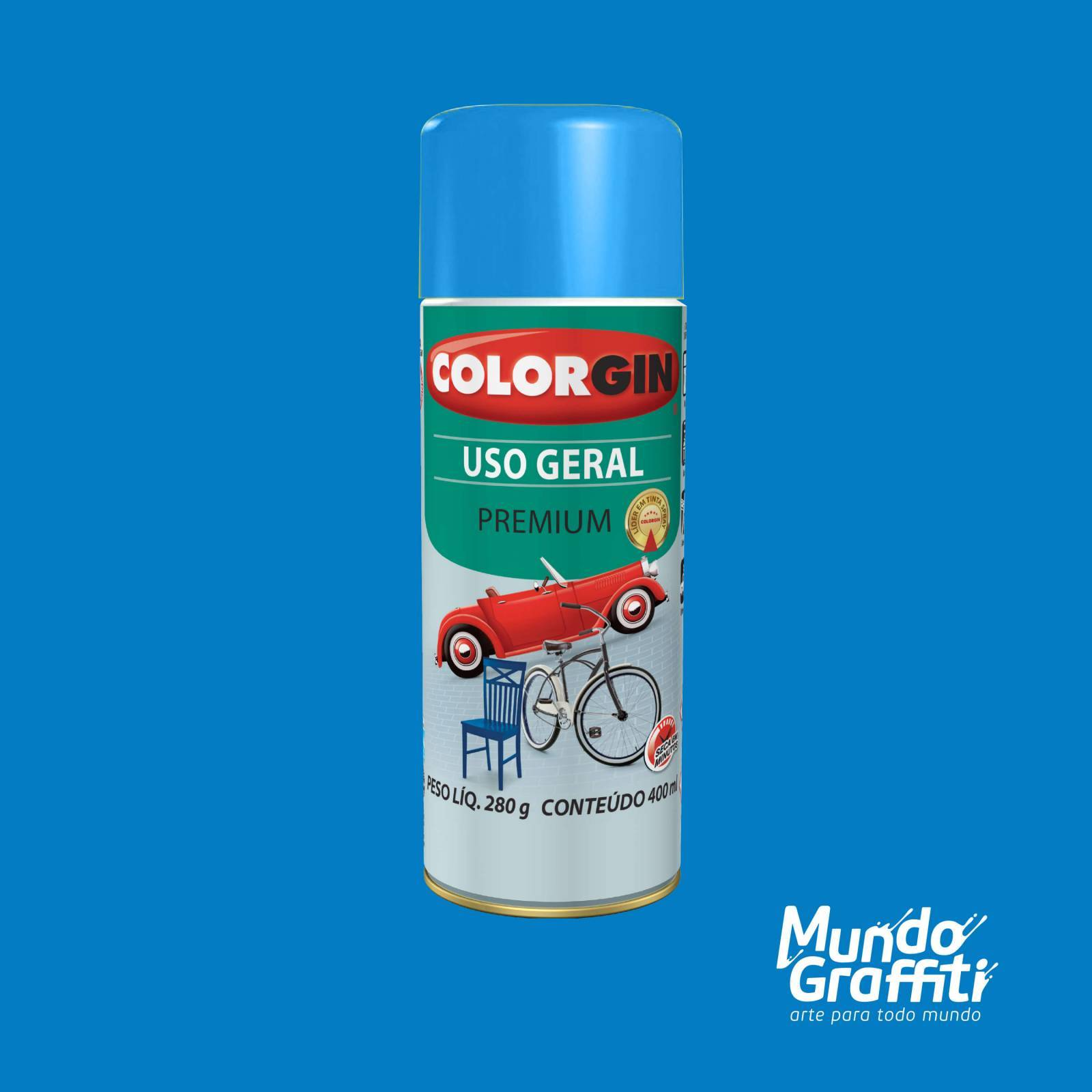 Tinta Spray Colorgin Uso Geral 55101 Azul Medio 400ml - Mundo Graffiti