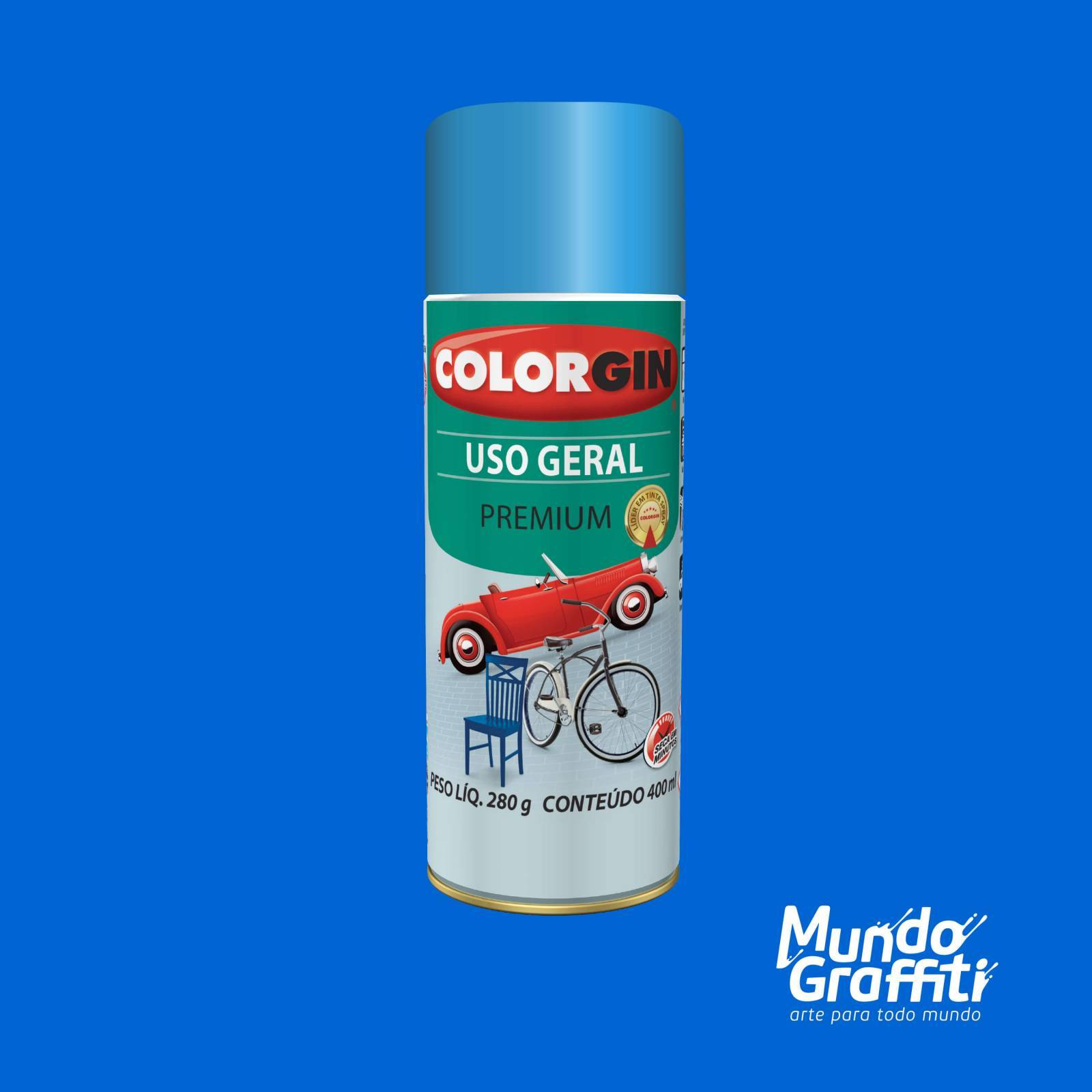 Tinta Spray Colorgin Uso Geral 56081 Azul USA 400ml - Mundo Graffiti