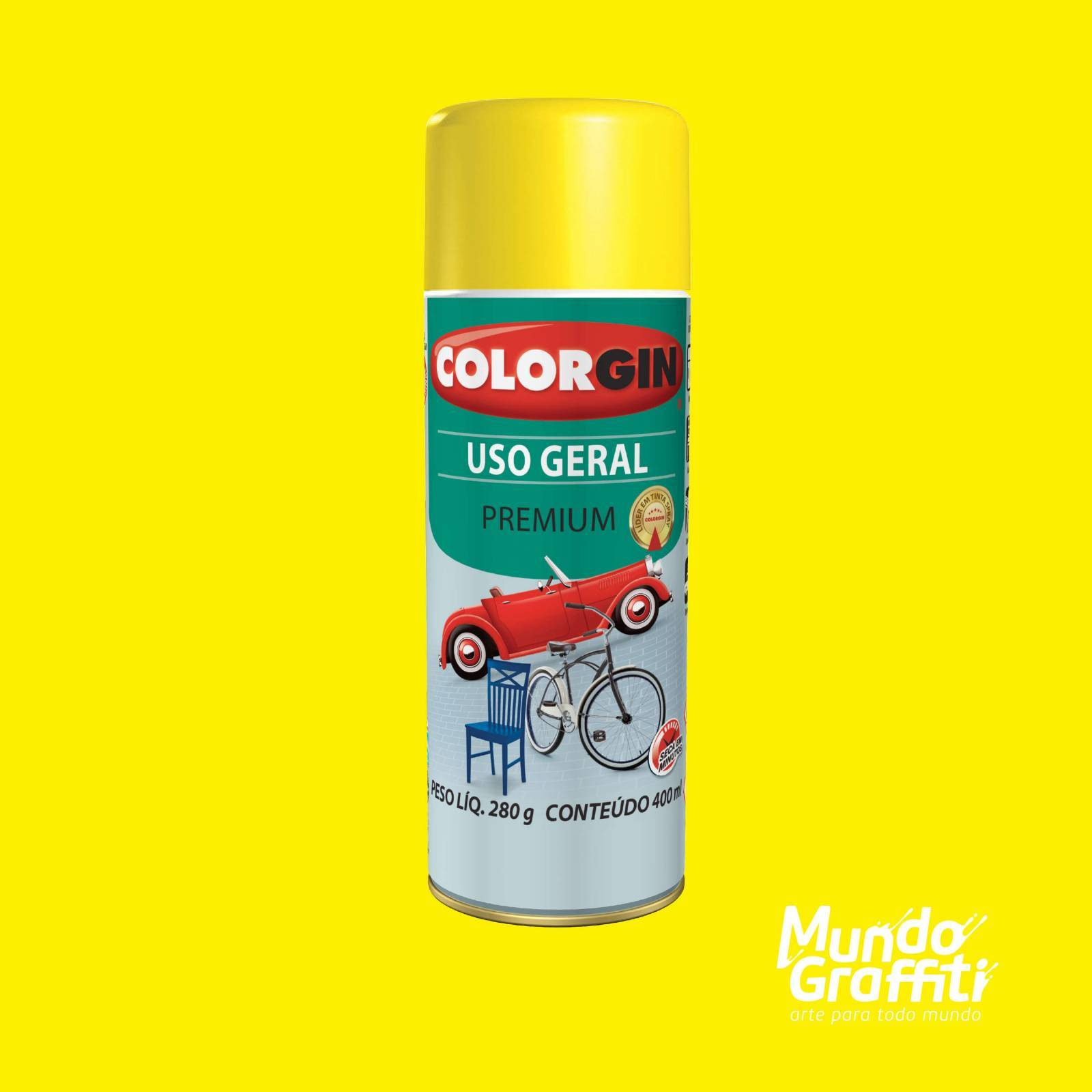 Tinta Spray Colorgin Uso Geral 55081 Amarelo 400ml - Mundo Graffiti