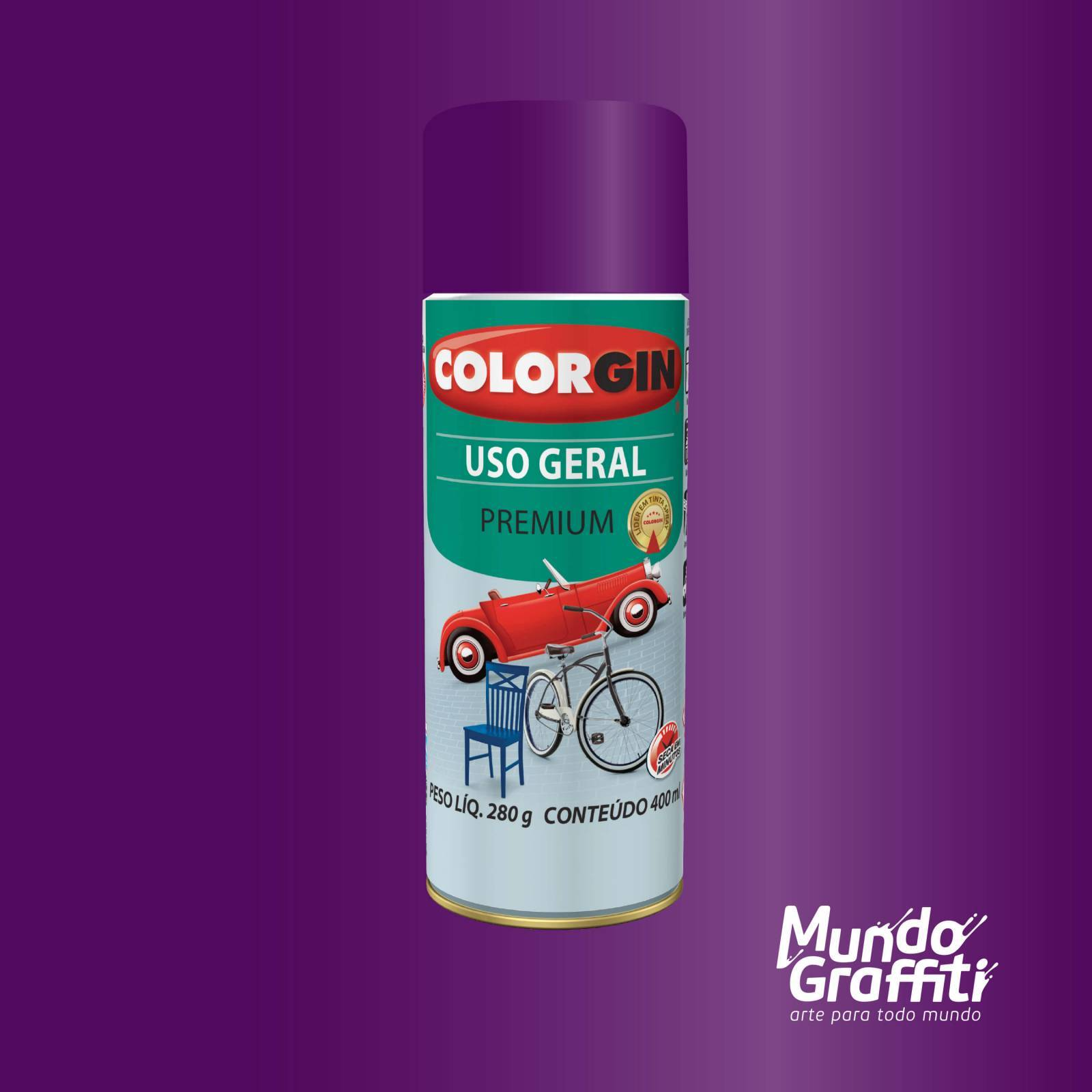 Tinta Spray Colorgin Uso Geral 57021 Violeta Imperial Metali - Mundo Graffiti