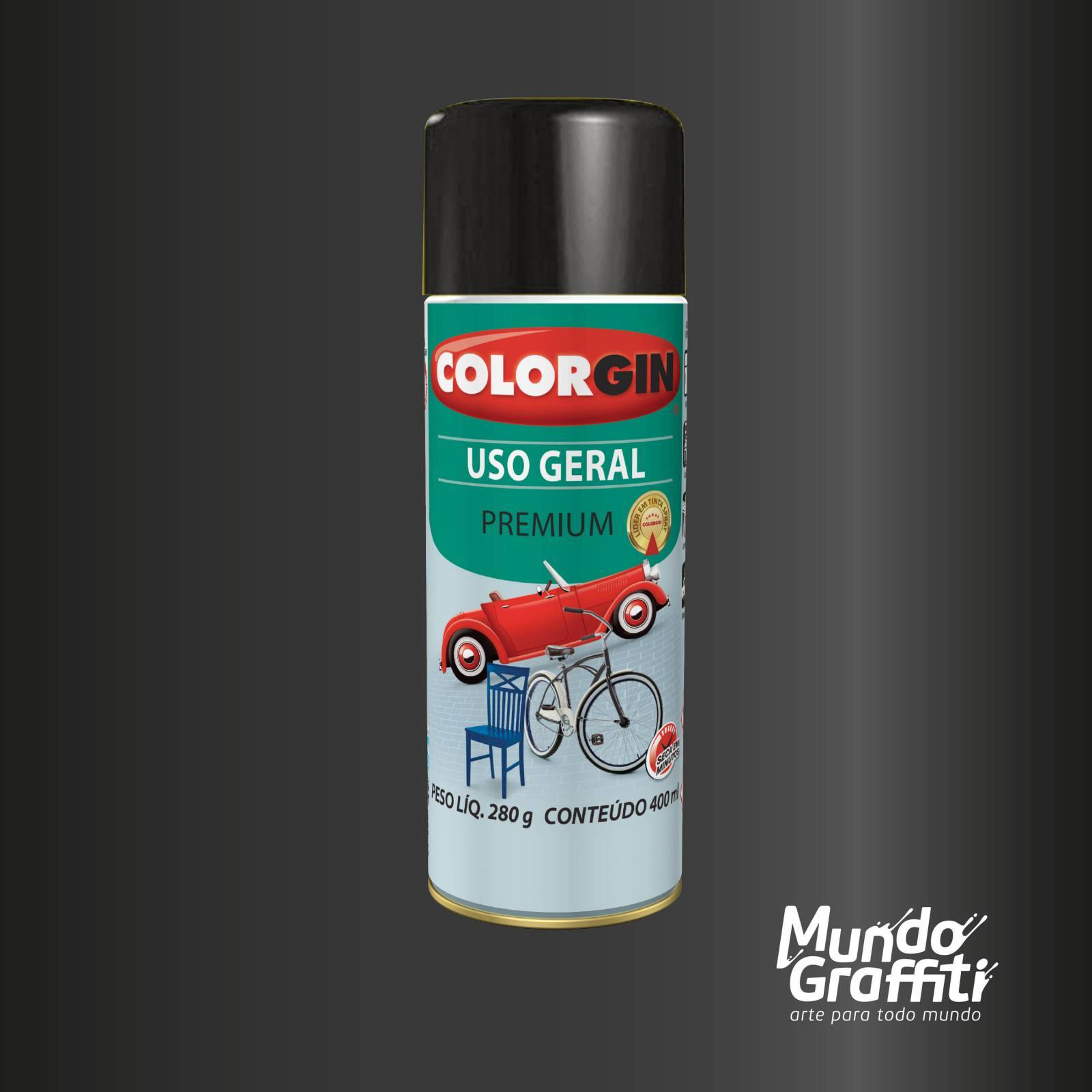 Tinta Spray Colorgin Uso Geral 57151 Preto Star Metalico 400 - Mundo Graffiti