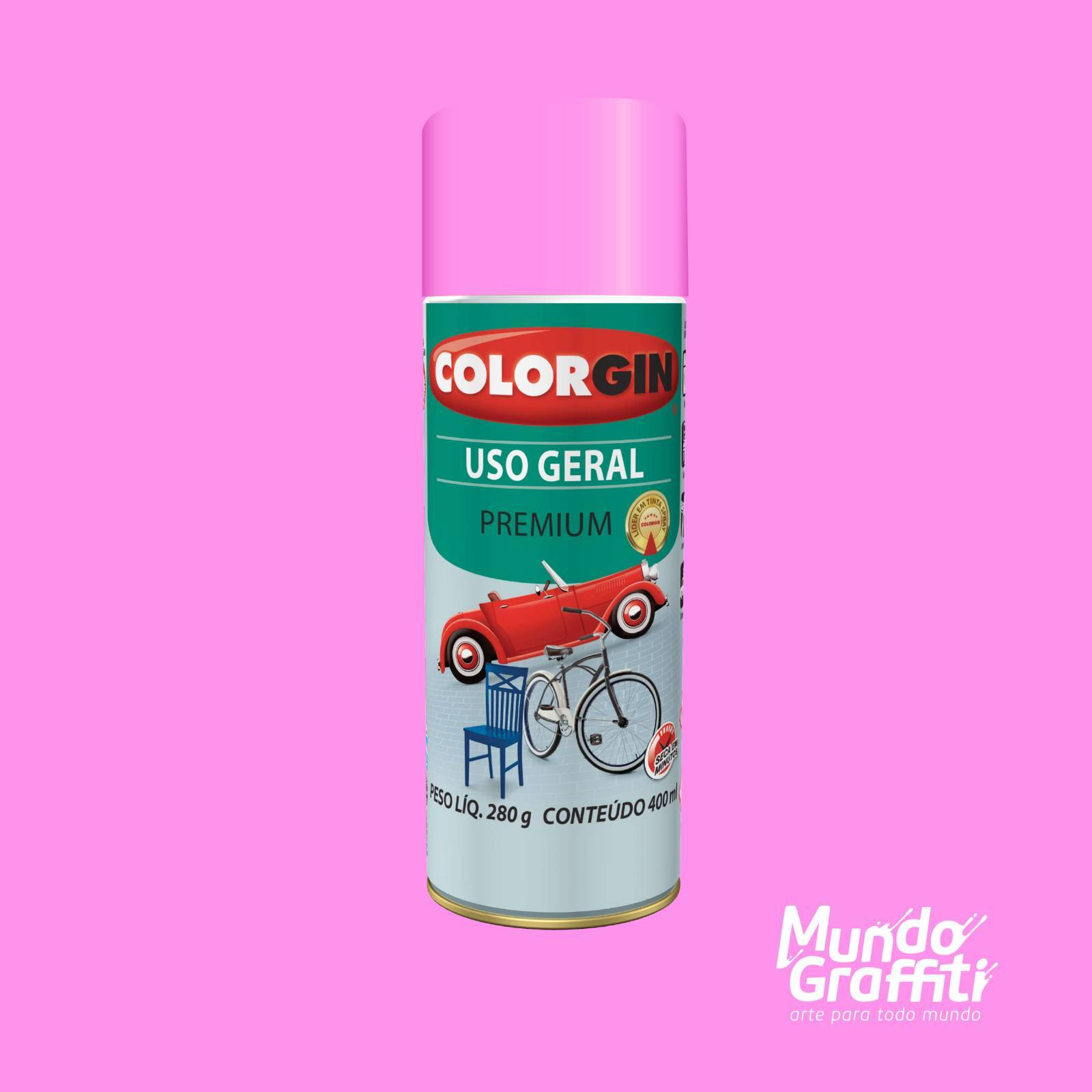 Tinta Spray Colorgin Uso Geral 56061 Rosa GBR 400ml - Mundo Graffiti