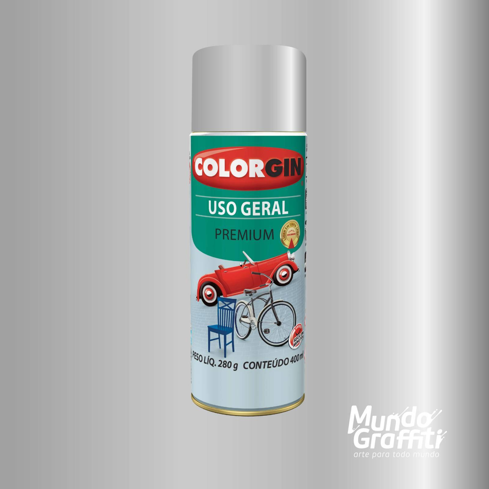 Tinta Spray Colorgin Uso Geral 57061 Prata Real Metalico 400 - Mundo Graffiti